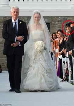 Ghislaine Maxwell at wedding of daughter of HIllary Clinton