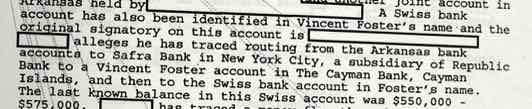 FBI document on VInce Foster's Swiss account