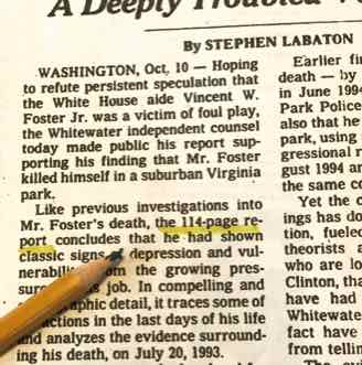 New York Times on Vince Foster Report