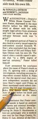 L.A. Times on VInce Foster Report